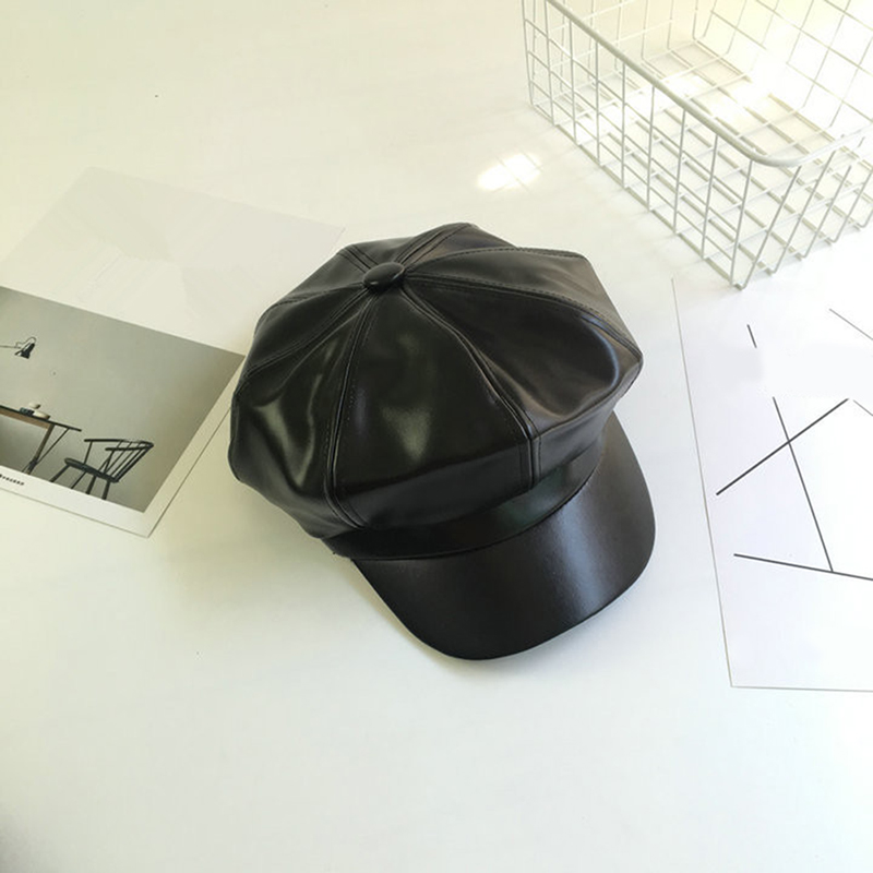 Black PU Leather CapsFall Winter New Fashion Women Octagonal Cap Casual Vintage Hats Newsboy Cap For Women Casquette