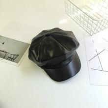 Czarne PU skórzane czapki jesień zima nowe mody kobiety ośmioboczna czapka Casual Vintage czapki czapka gazeciarza dla kobiet Casquette