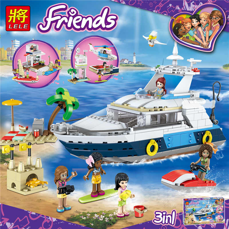 LELE  621Pcs 3 in 1 Friends for Girls Luxury Vacation Cruise Building Blocks Toys for Children Compatible Legoings 37083