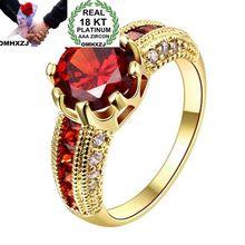 OMHXZJ Wholesale European Fashion Woman Man Party Wedding Gift Round White Red AAA Zircon 18KT Yellow Gold Rose Gold Ring RR451 цена и фото