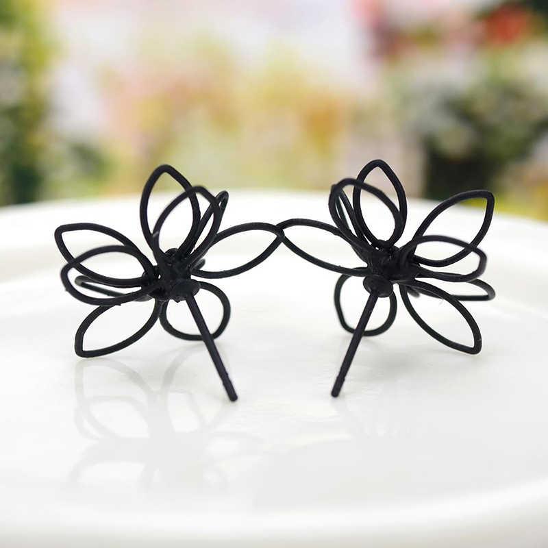 1 para wysokiej jakości koreański gorąca sprzedaż dla alergików gorąca sprzedaż czarny kwiat śliwy podwójne boki Stud kolczyk New Arrival