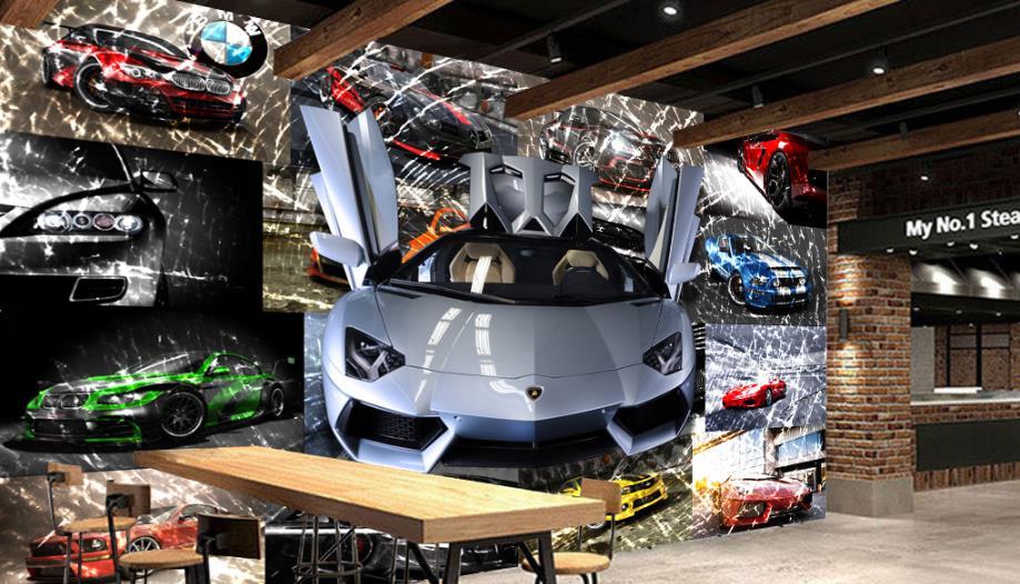 3d фото обои спортивный автомобиль битое стекло росписи обои бар КТВ декоративные настенные Задний план обои стереоскопического 3d росписи