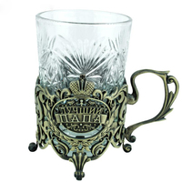 Home table decoration accessories stable retro cup and cup holder two piece the creative gift to dad metal crafts