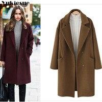 British Style Jacket Coat Wool Winter Women Woolen Coat Pockets Single Breasted Button wool Female Jacket Coat Plus size