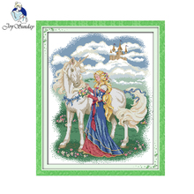 Joy sunday figure style White horse and princess cross stitch christmas patterns Embroidery kits christmas cross stitch charts