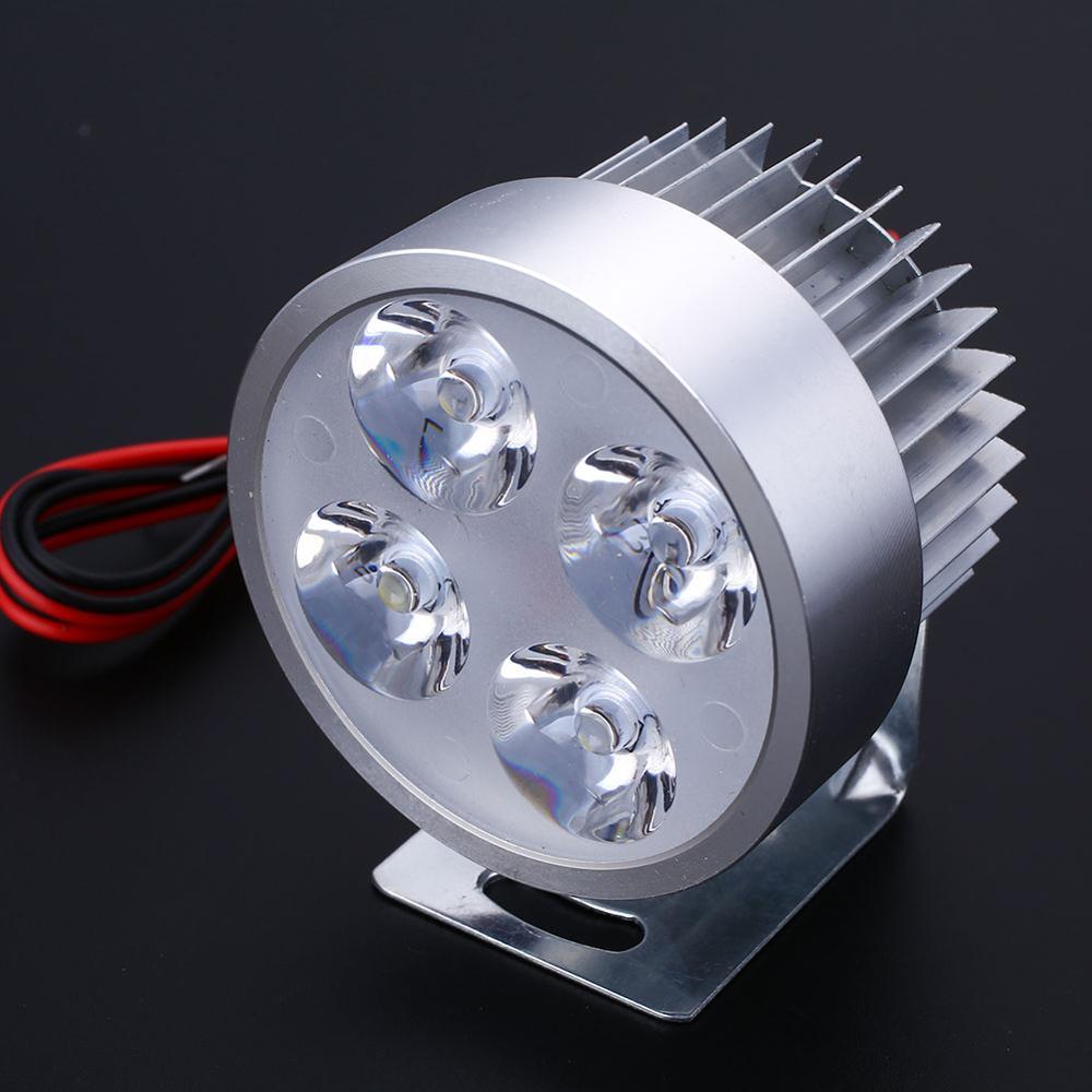 VEHEMO, светодиодный головной светильник для мотоцикла, электровелосипеда, фара для вождения, точечный светильник, водонепроницаемая лампа, 10 Вт, 4 цвета, для мотоцикла, DIY, головной светильник - Цвет: Silver