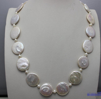 A 18INCH white Coin shaped fresh water pearl necklace 18.8mm 22mm