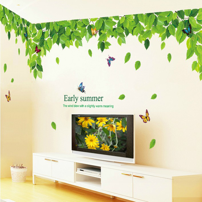 * green leaves fly butterflies removable waterproof self-adhesive wall stickers home decor living room TV backdrop PVC wallpaper