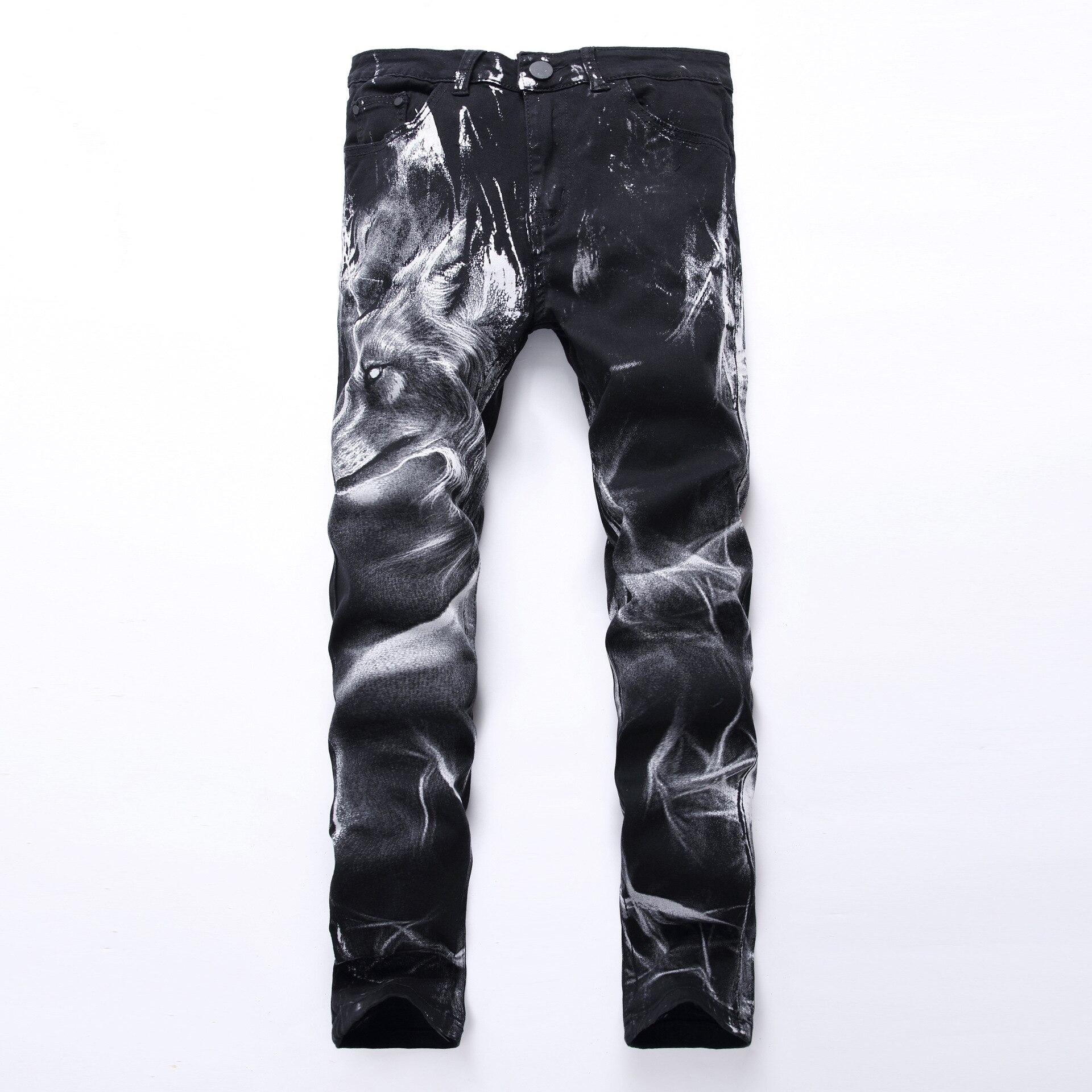 Nouveau mode hommes loup imprimé Jeans Style Punk noir haute élastique coton jambe droite Jeans Cool pour les jeunes hommes grande taille