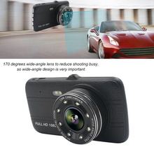2017 Professional 4 Inch HD Display Car DVR 1080P 170 Degree Wide Angle Infrared Night Vision Car Dash Camera With Rear Lens