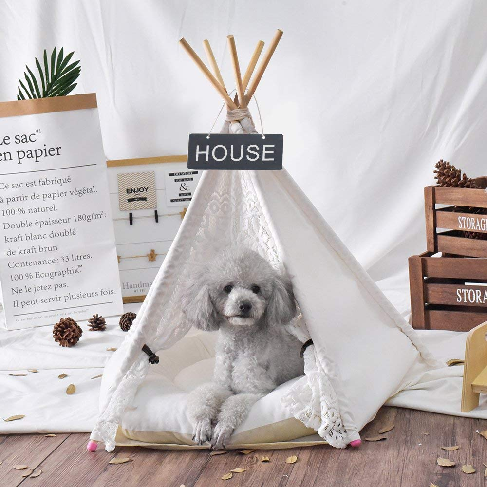 White Canvas Lace Pet Teepee Dog Teepee Dog Tent Cat Tipi 20 Without Cushion only for small petWhite Canvas Lace Pet Teepee Dog Teepee Dog Tent Cat Tipi 20 Without Cushion only for small pet