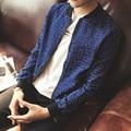 Горячие Продажи Моды для Мужчин Дышащая Тонкий мыть морщин джинсы Синие Печати Fit Качества Куртка Мужской Пальто