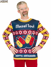 2016 New Mazel Tov Ugly Sweater Print Hanukkah T Shirts for Men Funny Male's 3D Casual Tee Plus Size M-2XL