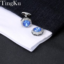 hot deal buy free shipping]mens wedding cuff buttons silver men luxury cufflinks blue for mens brand high quality cuff links woman wedding