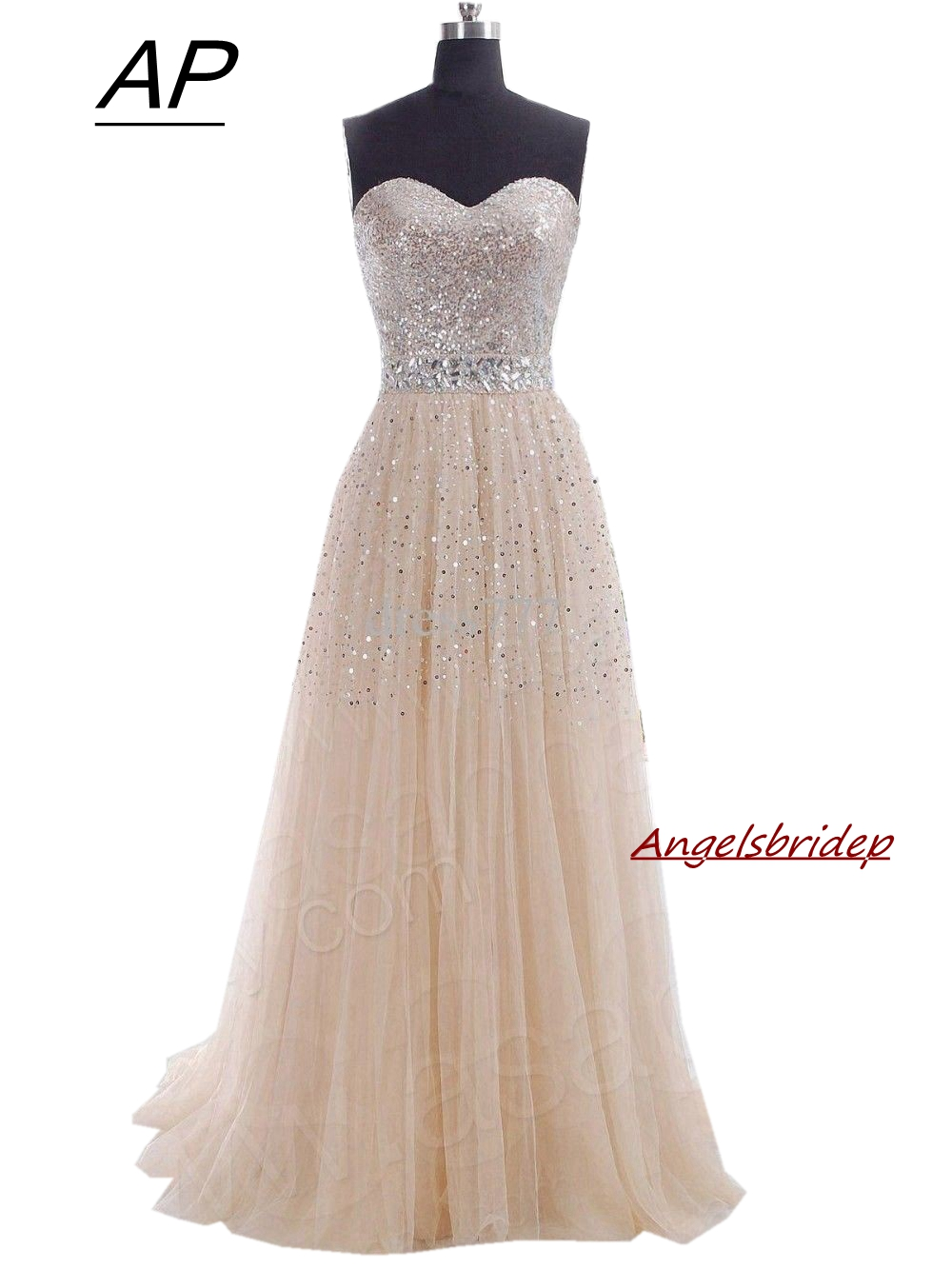 ANGELSBRIDEP Champagne Sweetheart Bridesmaid Dresses Long Sequined Sparking Skirt Vestido Madrinha Formal Party Gown