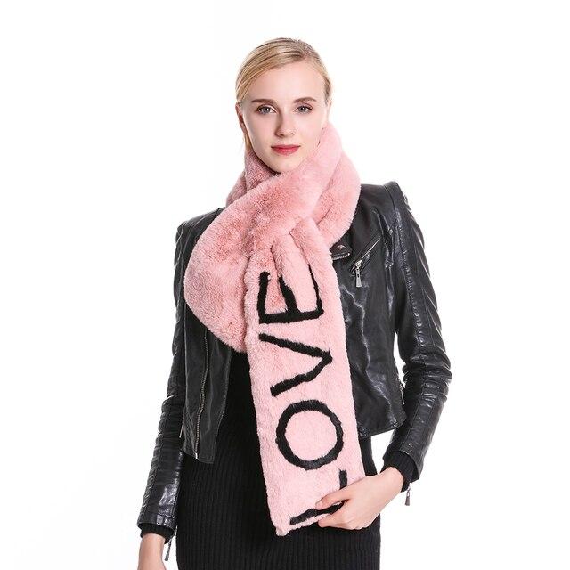 Winter #Fashion Soft Black Pink Faux Fur Collar #Scarf Love Letter Scarves Women#boygrl 1