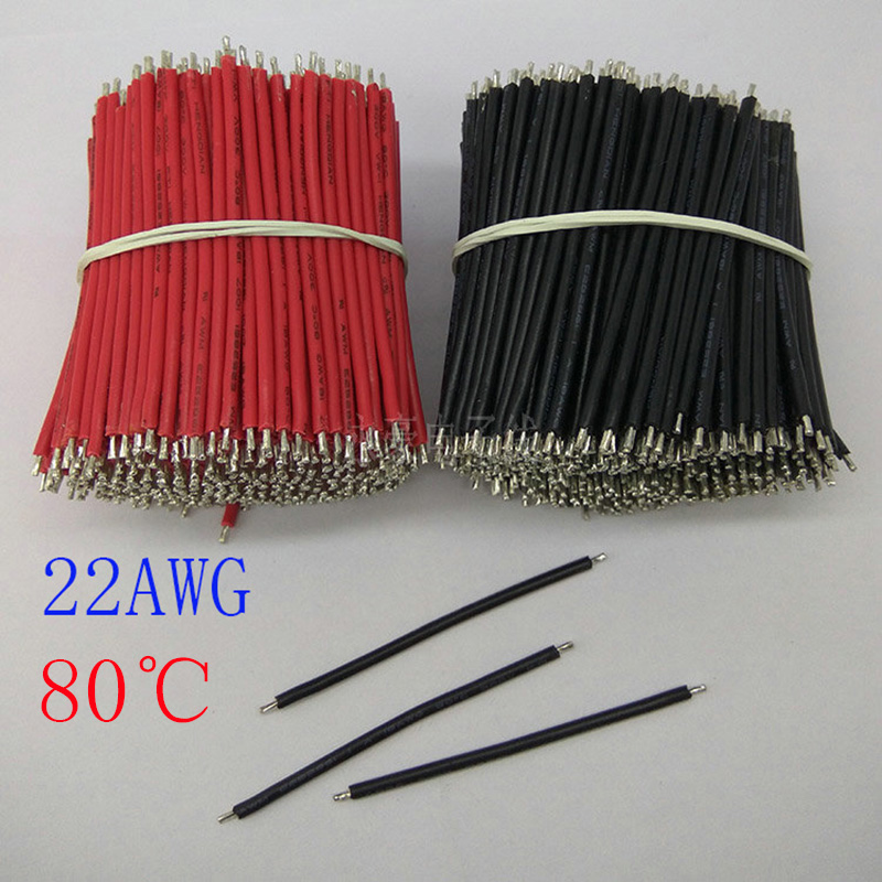 1000/pcs,22AWG 80mm black and red tin electronic wire cable,80 degree electronic components, DIY panel wire,free delivery