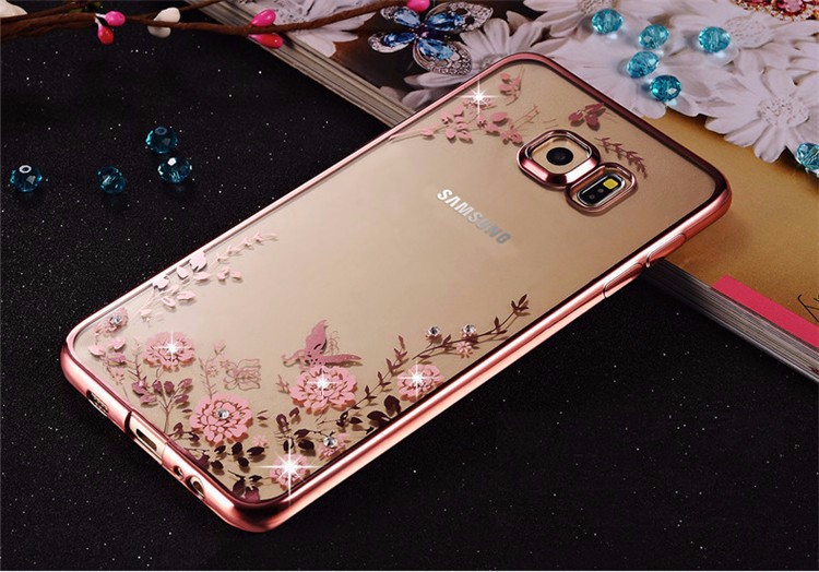 sale retailer 8fba0 1c7fc US $1.79 5% OFF Luxury Diamond Flowers Pattern Back Cover Soft TPU Case for  Samsung Galaxy S8 S9 Plus S6 S7 Edge A5 A7 A8 2018 A3 J3 J5 J7 2016-in ...