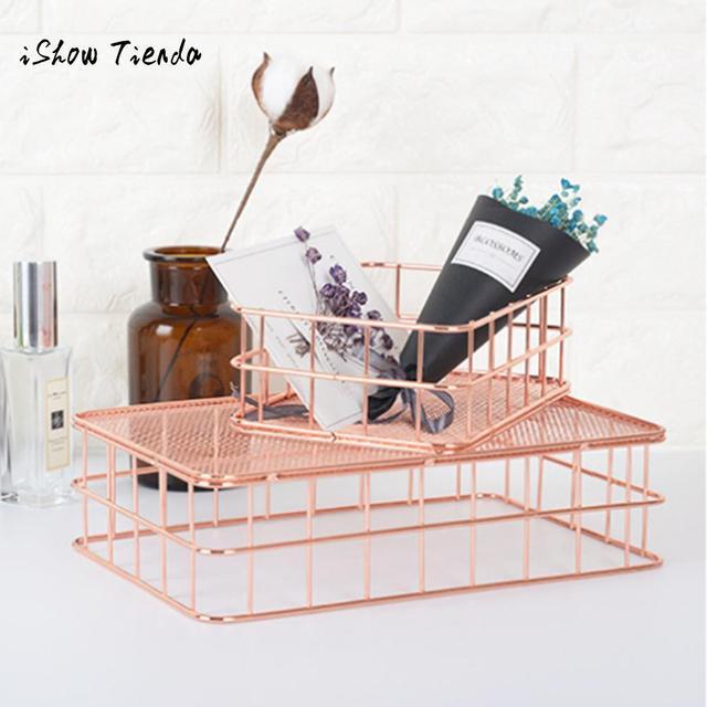 Metal Rose Gold Storage Basket Mesh Crate Vintage Kitchen Office Storage  Desk Organizer Bath Storage Tools