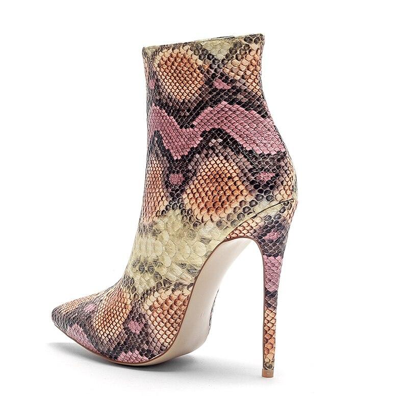 ISNOM 2018 Neue Dünne High Heels Frauen Stiefel Spitz Bootie Kurze Plüsch Weibliche Schuhe High Neck Schuhe Große Größe schlange Stiefel-in Knöchel-Boots aus Schuhe bei  Gruppe 3
