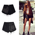 ISTider Denim Shorts Women 2017 New Punk Rivet High Waist Denim Shorts For Women Solid Fashion Street Style Feminino Shorts