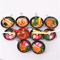3-9cm Simulation Food Lanyard Action Figure Toy Japanese Ramen Sushi Key Rings Cake Bag Keychain Kitchen Pretend Play Kids Toys