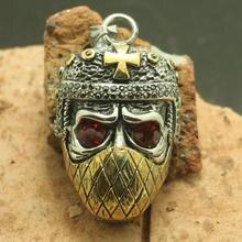316L Acero inoxidable fresco de oro Cruz piedra roja ninja cráneo colgante