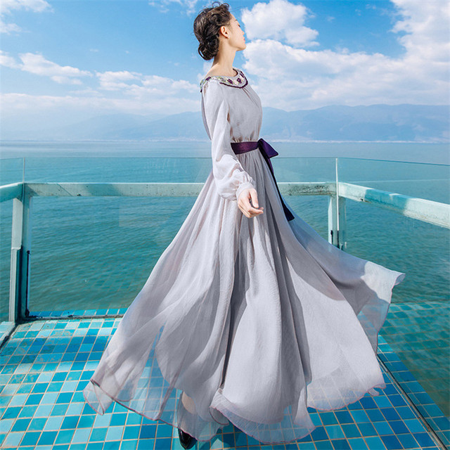 New High Quality Explosions Leisure Elegant embroidery Dresses  Women  lace spring summer Casual Shirt Dress 4