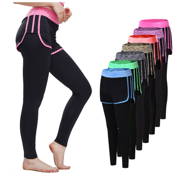 Women Elastic Tight Yoga Running Pants Quick Dry Fitness Gym Footstep Skirt Pants Workout Joggin Tight Sport Leggings Trousers