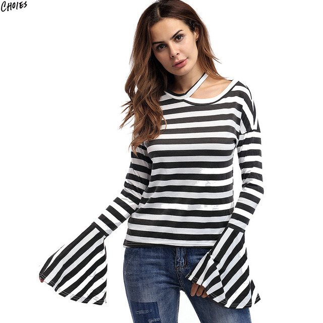 45758e5d91f 2 Colors Stripe T-shirt Hollow Out Shoulder Strap Detail Flared Long Sleeve  Drop Shoulder Round Neck Autumn New Tee Top