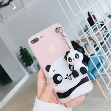 New 3D Cute Cartoon Panda frame Coque cover For iPhone 6 6s 7 Plus 8Plus X Case With bracket Transparent Soft
