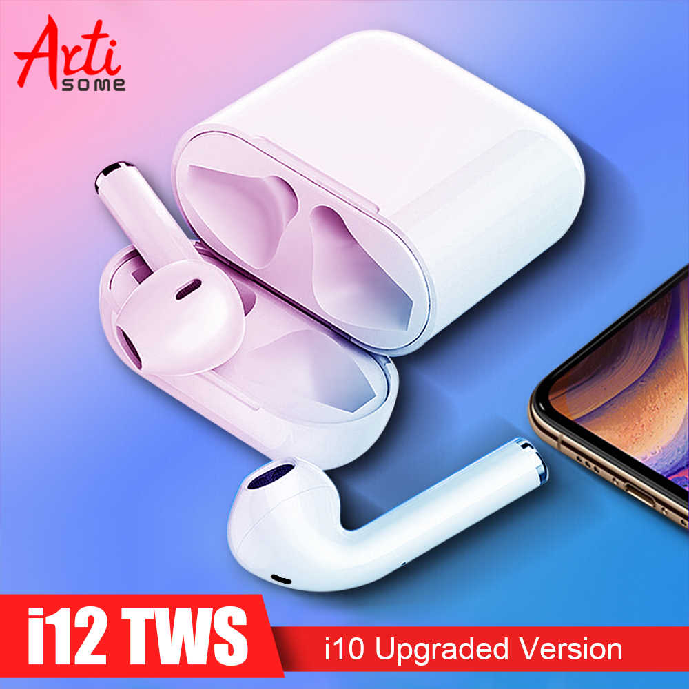 Artisome New i12 TWS Bluetooth Earphone Wireless Headphones Touch Control  Headset 3D Stereo Earbuds Charging Case i12 PK i10 TWS
