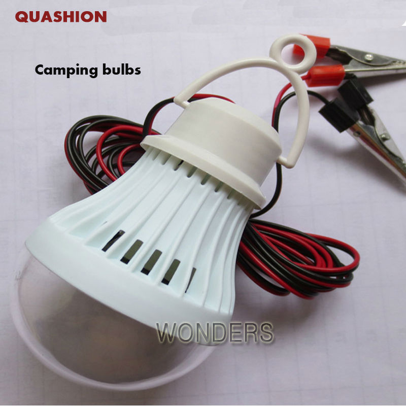 Portable Energy-Saving 3W 5W 7W 9W 12W <font><b>dc</b></font>-<font><b>dc</b></font> <font><b>12V</b></font> LED Light Lamp Bulb For Camping Hiking Tent Garden with clip image
