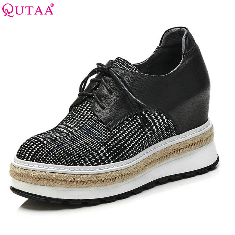 QUTAA 2018 Women Pumps Round Toe Classic Women Shoes Wedge High Heel Genuine Leather +pu Lace Up Ladies Casual Pumps Szie 34-42 qutaa 2018 women pumps lace up platform women shoes round toe wedges heel spring autumn fashion ladies pumps szie 34 42