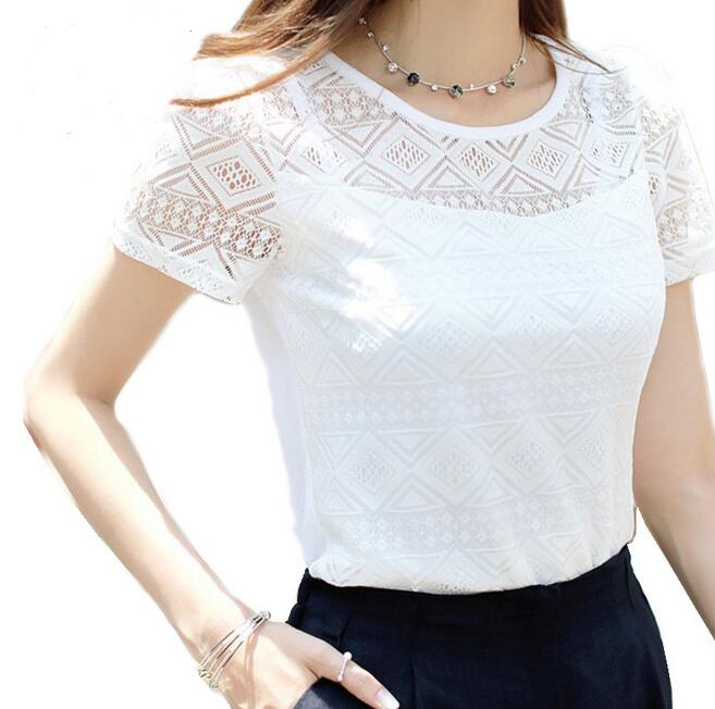 f21ecbb788c US $7.4 |Women Fashion Geometric Pattern Short Sleeve Lace Floral Blouse  Shirts Summer Casual Chiffon Tops Shirts Blusas-in Blouses & Shirts from ...
