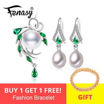FENASY Pearl Jewelry Sets,Pearl Pendant Necklace Earrings For Women ,Bohemian 925 sterling silver Emerald leaf big earrings set - DISCOUNT ITEM  50 OFF Jewelry & Accessories
