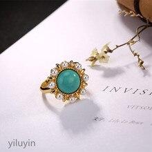 KJJEAXCMY эксклюзивное ювелирное изделие из стерлингового серебра 925 пробы, позолоченное кольцо с инкрустированным жемчугом из Натуральной Бирюзы, Женское кольцо для пробежки