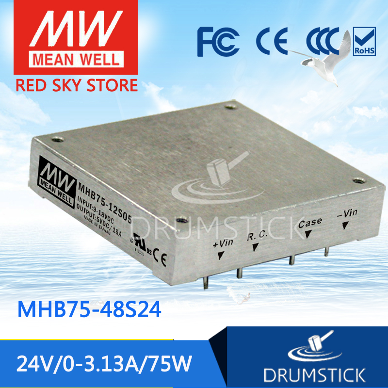 Hot sale MEAN WELL MHB75-48S24 24V 3.13A meanwell MHB75 24V 75W DC-DC Half-Brick Regulated Single Output Converter [powernex] mean well original mhb75 48s05 5v 15a meanwell mhb75 5v 75w dc dc half brick regulated single output converter