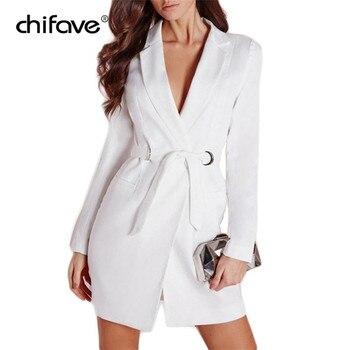 Elegent Long Sleeve Belt Slim Blazers Coat