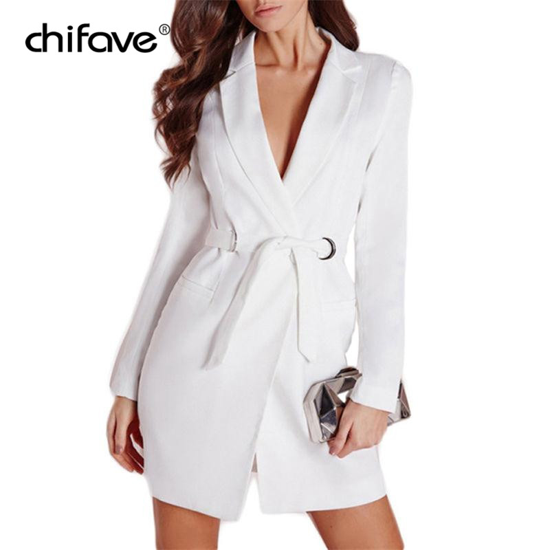 Elegent Long Suit Blazers Women Long Sleeve Belt Slim Blazers Coat Deep V Notched Collar Jacket Ol Office Lady Outwear Chifave