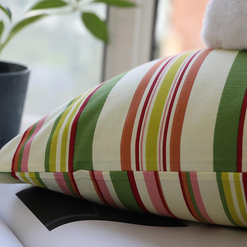 Decorative Pillowcase Countryside Cotton Stripe Print Square Throw Cushion Cover Pillow Case Bedroom Home Decor kussensloop Hot in Cushion Cover from Home Garden
