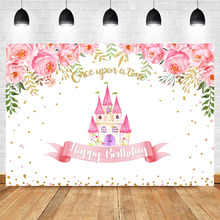Fairy Tales Backgdrop Castle Birthday Party Photography Background Pink Flower Girls Dessert Table Decorations Props