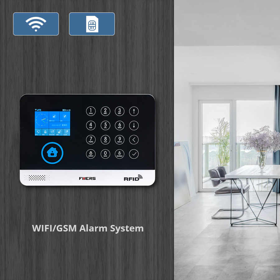 FUERS WG11 433MHz Wireless GSM&WIFI DIY Smart Home Security Alarm System  Pet Infrared Motion Door Sensor Solar Siren IP Camera