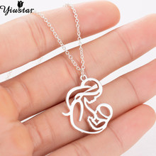 Yiustar Family MUM BABY Stainless Steel Necklace for Women Elegant Mother Necklace Charms Pendant Chokers Necklaces & Pendants(China)