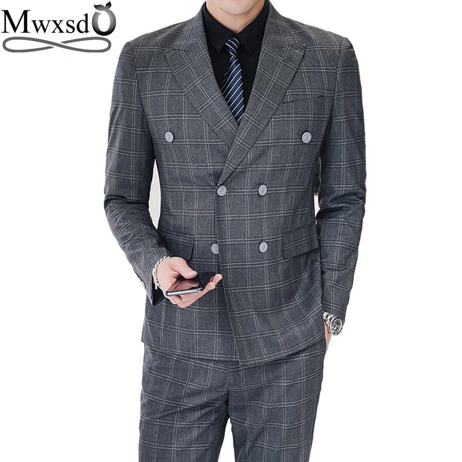 Juego de trajes a cuadros a rayas para hombre Mwxsd 3 piezas (blazer + chaleco + pantalón) chaqueta de traje formal de doble botonadura para boda-in Trajes from Ropa de hombre    1