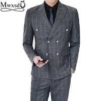 Mwxsd 男性ストライプチェック柄のスーツセット 3 ピース (ブレザー + ベスト + ズボン) 男性フォーマルなダブルブレストスーツブレザーウェディング部分
