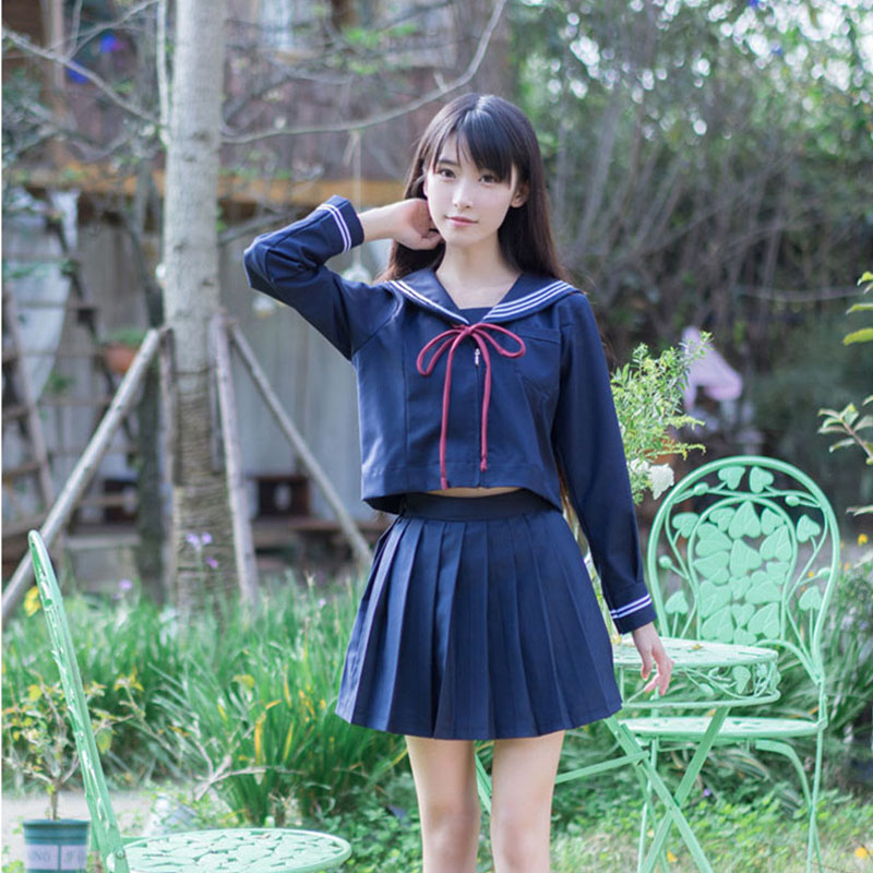 Girls Japanese School Uniform Japan Navy Sailor Uniform Graduation Clothing School Shirt Skirt Students Sets U009