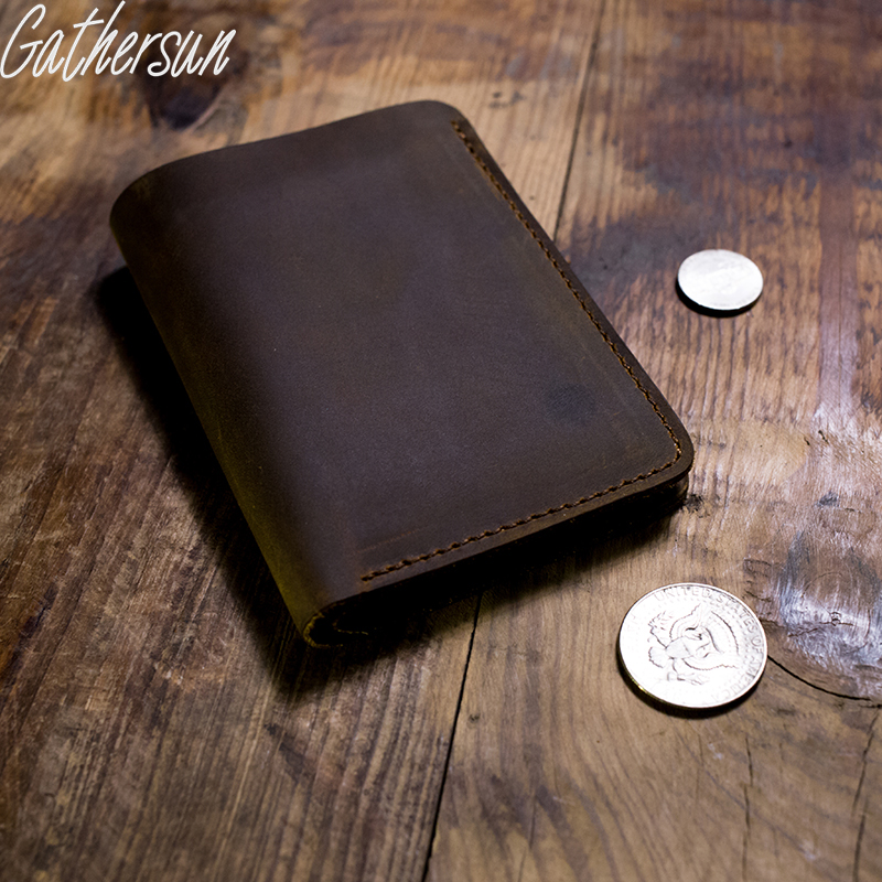 Gathersun Brand Handmade Vintage Designer Genuine Crazy Horse Cowhide Leather Men Short Wallet Purse Male With Coin Pocket gathersun the secret life of walter mitty retro wallet handmade custom vintage genuine wallet crazy horse leather men s purse