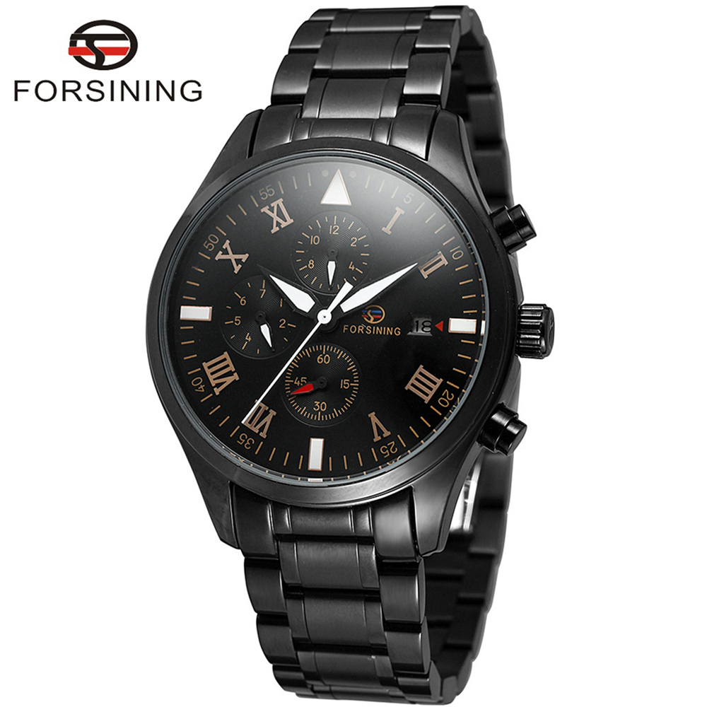 FORSINING Brand Mens Roman Number Stainless Steel Automatic Mechanical Watch Fashion Calendar Wristwatch Relogio Releges 2017 fashion forsining watches men s brand day roman number flywheel auto mechanical watch wristwatch gift free ship