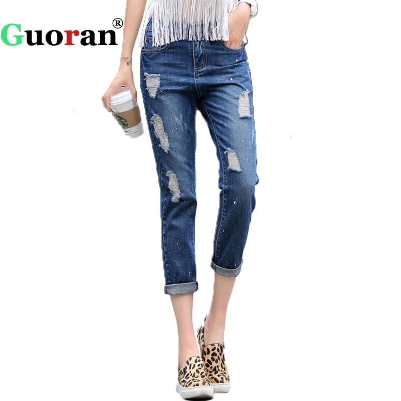 {Guoran} Loose Ripped Jeans Pants Women Summer Holes Femme Pantalon Plus Size Denim Blue Trouser Female Boy friend Harem Pants